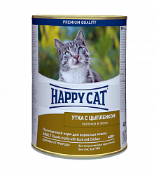 Консервы для кошек Happy Cat Утка и цыпленок в желе 0,4 кг